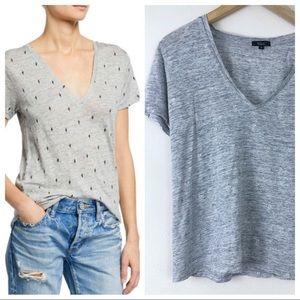 RAILS Pineapple Light Grey V Neck Slub Tee Shirt